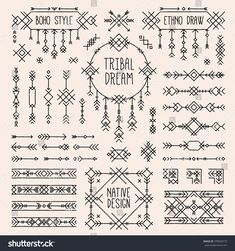 Royalty Free Stock Photos and Images: Boho elements set. Indian tribal collection of simple linear art. Tattoo Diy, Tiny Tattoo, Tattoo Ideas, Tattoo Designs, Hp Tattoo, Tattoo Hand, Tattoo Forearm, Armband Tattoo, Linear Art