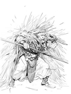 camouflage dwarf straw field staff dagger blade sketch line, Even Amundsen