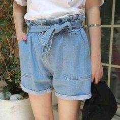 YesStyle - Envy Look Band-Waist Cuff-Hem Denim Shorts - AdoreWe.com