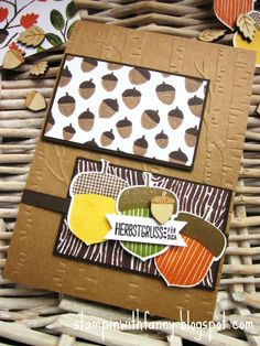stampin up herbstgrüße am waldrand elementstanze eichel herbst autumn into the wood match the sketch card #stampinwithfanny