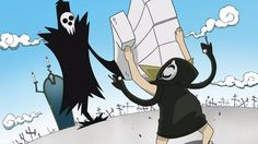 Death, giving little Medusa a Shinigami Chop (Soul Eater)