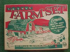 Vintage LOUIS MARX FARM SET ~ Original Box~ Complete w/Animals ~Never Assembled~ #Marx