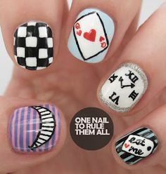 One Nail To Rule Them All: Digital Dozen Does Books - Day 4 'Alice in Wonderland' Nail art designs Cute Nails, Pretty Nails, Hair And Nails, My Nails, Nail Manicure, Nail Art Designs, Alice In Wonderland Nails, Nailart, Chesire Cat