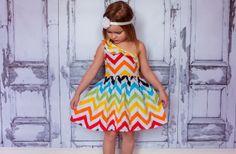 GroopDealz | Adorable Rainbow Chevron Summer Dress