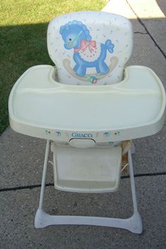 1990s Graco high chair. I got this very highchair as a baby shower gift in 1996