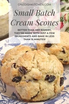 These delightfully tender and flaky cream scones are perfect for breakfast or brunch. Better than any bakery, they're made with just a few ingredients and bake in less than 15 minutes! Breakfast Recipes, Dessert Recipes, Desserts, Cream Scones, Single Serving Recipes, Cooking For One, Few Ingredients, Food Dishes, Bakery