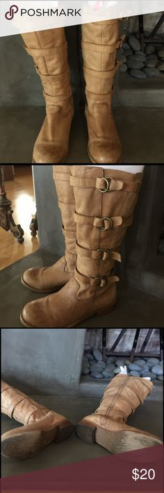 Two Lips Jaguar Knee High Boot Two lips knee high Jaguar style camel boot.  Slightly worn. Great with jeans or leggings.  Wears well with gals with athletic calves Shoes Heeled Boots