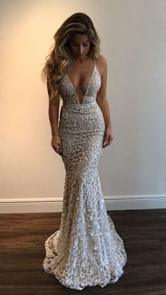 $171.00 Plunging Neck Prom Dress