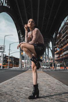 Editorial look, model Jolitza Nunez photographed in New York City, Harlem Bridge High Fashion Poses, Fashion Model Poses, High Fashion Shoots, Female Fashion, Fashion Photography Poses, Fashion Photography Inspiration, Urban Photography, Beauty Photography, Editorial Photography