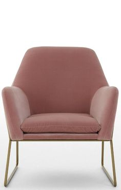 Armchair Blush Cotton Velvet Frame