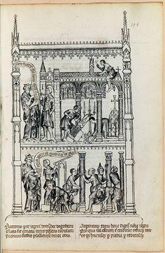Construction de Saint-Denis.    Paris, Bibliothèque nationale de France, Département des manuscrits, Latin 5286, folio 144  RCB 11936    XIVe-XVe siècle