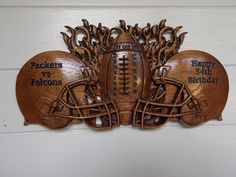 Football Helmets - Football Decor Rustic Wall Art - Unique Gift for Couples…