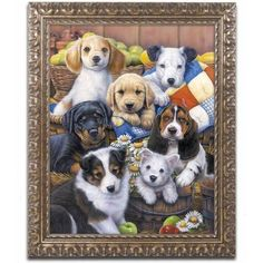 Trademark Fine Art 'Country Bumpkin Puppies' Canvas Art by Jenny Newland, Gold Ornate Frame, Size: 11 x 14, Assorted