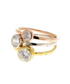 ADORNIA Rose And Yellow Gold Vermeil Tri-Color Stackable Trio Round Bezeled Swarovski Ring
