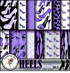 HEELS Purples set 5 digital papers for by IrrationalArts on Etsy, $3.95