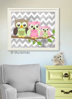 Owl Print for Nursery ,Baby Girl Owl Family Nursery Art, Whimsical Owl Art Print  8  x 10, Girls Room Decor