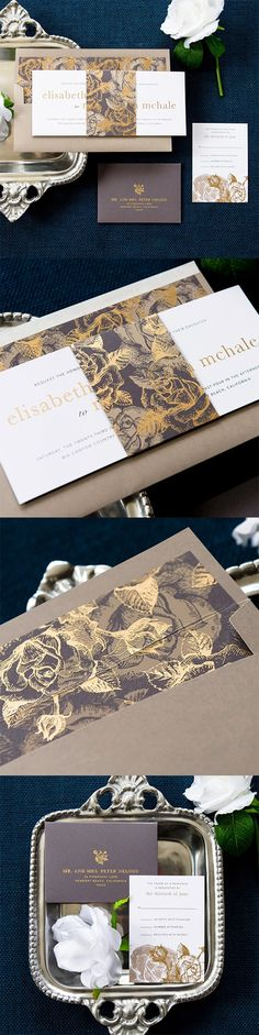 Floral #bellyband #wedding #invitation by @engagingpapers. The long horizontal…