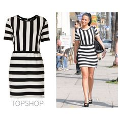Tulisa Contostavlos' Topshop Textured Striped Dress - Red Carpet... ❤ liked on Polyvore featuring dresses, models and backgrounds
