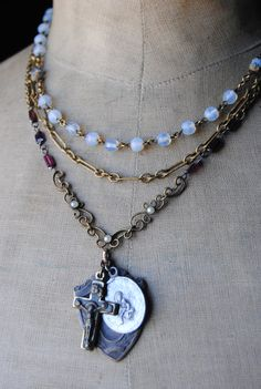 Opal Glass Rosary Necklace Vintage