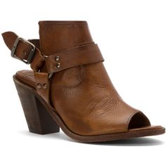 Frye Women's Izzy Harness Sling Clogs And Mules Shoes (385547201) ($288) ❤ liked on Polyvore featuring shoes, boots, ankle booties, cognac soft vintage leather, clogs mules, leather clogs, short leather boots, cognac leather booties and leather boots