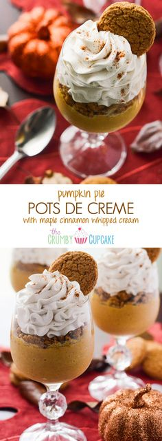Pumpkin Pots de Creme | Fall's favorite flavor, mixed up in a classic French dessert, and topped with crushed gingersnaps and a Maple Cinnamon Whipped Cream!