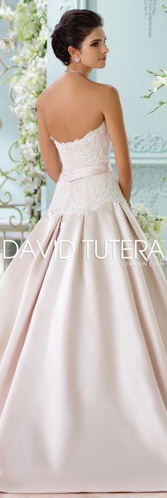 The David Tutera for Mon Cheri Spring 2016 Wedding Gown Collection - Style No. 116215 Lucienne #satinandlaceweddingdresses  Jewelry by @davidtuteraembellish Yasmeen Button Earrings www.davidtuteraembellish.com