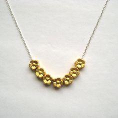 Brass Flower Necklace Brass Charm Sterling Silver by juliegarland, $28.00