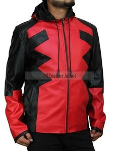 Goatskin DeadPool Game Hoodie Leather Jacket #Handmade #Movie  #leatherjacket #menleatherjacket