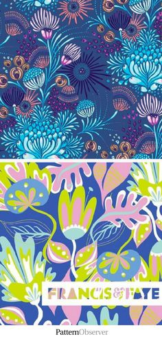 Repeat Downbeat: Funky Florals.  Pattern design tips. Bold florals and funky leaves are the theme of this week's #repeatdownbeat. Pattern A by Amanda Way Caronia of Bella Caronia. Pattern B by Bryna Shields of Francis & Faye