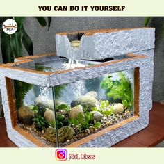 Diy Garden Fountains, Diy Fountain, Indoor Water Fountains, Cement Art, Cement Crafts, Betta Fish Tank, Aquarium Fish Tank, Bamboo Water Fountain, Fish Tank Design