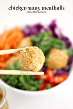 Four Kitchen Decorating Suggestions Which Can Be Cheap And Simple To Carry Out Chicken Satay Meatball Recipe Createdbydiane Spicy Meatballs, Peanut Dipping Sauces, Ground Chicken Recipes, Chicken Satay, Great Appetizers, Meatball Recipes, Lemon Chicken, Other Recipes, Recipe Using