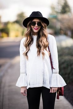 Bell Sleeves | winter fashion | winter style | styling for fall and winter | fashion tips for winter | how to style a bell sleeve top || The Girl in the Yellow Dress
