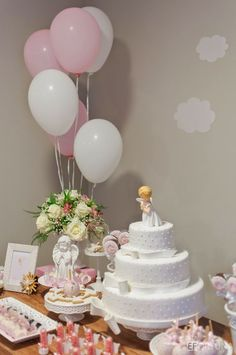 Baby Girl Baptism, Baptism Party, Baby Christening, Birthday Decorations, Birthday Party Themes, Communion Centerpieces, Cloud Party, First Communion Cakes, Baby Event