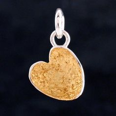 gold leaf and silver concave heart charm by fi mehra