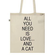 Tote Bag Imprimé Bio Toile écru / Raw Canvas Graphic Tote bag - Love & cat - ArteCita ECO Fashion - ArteCita ECO Fashion - 1