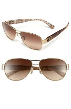 COACH 'Charity' Metal Aviator Sunglasses available at #Nordstrom