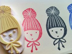 boy in a knitted hat hand carved rubber stamp by talktothesun, $12.00