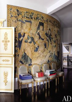 Bernd Goeckler's NYC loft - 18th century Flemish tapestry, 1780 gilt-wood chairs by Jean-Baptiste-Claude Séné
