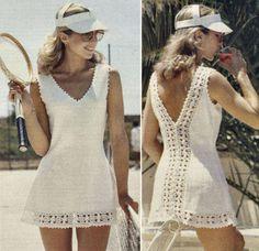 Tennis or Summer Dress Vintage Knitting Crochet Pattern for download Four Bust Sizes 32 - 38 (81 - 97cm)