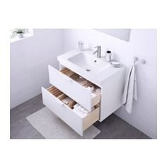 "IKEA - GODMORGON / ODENSVIK, Sink cabinet with 2 drawers, white, 31 1/2x19 1/4x25 1/4 "", , 10-year Limited Warranty. Read about the terms in the Limited Warranty brochure.Smooth-running and soft-closing drawers with pull-out stop.You can easily customize the size of the drawer by moving the divider.You can easily see and reach your things because the drawers pull out fully.Drawers made of solid wood, with bottom in scratch-resistant melamine.The included water trap is easy to connect to the…"