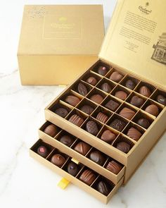 Charbonnel Et Walker Gold Crystal Drawing Room Box Artisan Chocolate, Chocolate Sweets, I Love Chocolate, Chocolate Shop, Chocolate Gifts, Chocolate Lovers, Crystal Drawing, Gold Home Accessories, Meals