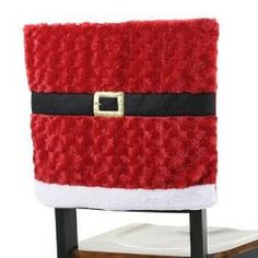 dining chair covers easter | Set of Two Adorable Santa Suit Chair Cover * Darker Red w/Black Buckle ...