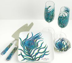 Personalized Peacock Wedding 7-Piece Collection--Peacock Toasting Flutes, Ring Dish, Cake Plate, Cake Serving Set, and Signature Painting