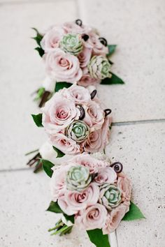 Blush Rose, Succulent and Monkey Tail