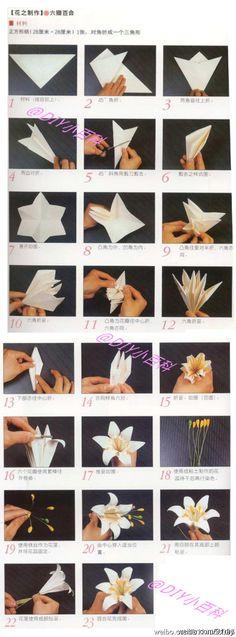 Wunderschöne Lilie aus sechszackigem Stern, gefaltet wie klassische Lilie. Eine Magazinseite = ca. 7,5 hoch.