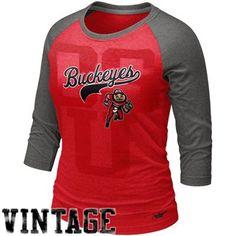 Nike Ohio State Buckeyes Ladies Vault Premium Raglan T-Shirt - Scarlet/Charcoal