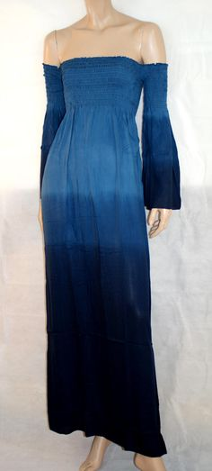 Summer's Back! Soft & Elegant Handmade Maxi Dress One Size Kimono Sleeve Indonesia Pure Rayon Blue Tie Dye Abito Donna Taglia Unica di BeHappieWorld su Etsy
