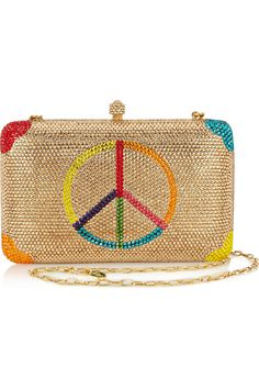 Sylvia Toledano - Peace Please Swarovski crystal-embellished box clutch Alexander Mcqueen Bracelet, Hippie Flowers, Best Bags, Cute Purses, My Bags, Hobo Bags, Handbags Michael Kors, Small Bags, Evening Bags