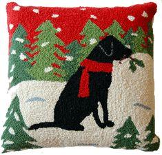"Alpine Holly Christmas Black Labrador Retriever Dog Hooked Wool Throw Pillow 16"" x 16"" ~ An Exclusive Design"