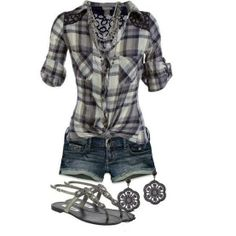 Casual summer outfit-just my style :) Komplette Outfits, Short Outfits, Casual Outfits, Fashion Outfits, Fashion Ideas, Polyvore Outfits, Flannel Outfits, Shorts Outfits Women, Country Outfits